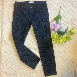"""8"""" Rise Blue Leopard Skinny's by Free People."""